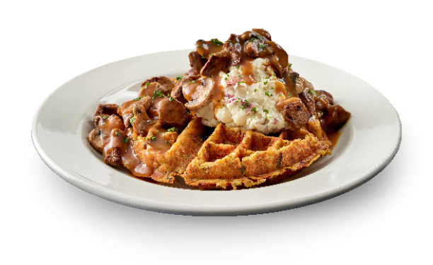 Beef Tips Waffle